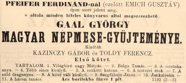 """Képtalálat a következőre: """"gaal györgy magyar népmesegyűjteménye"""""""